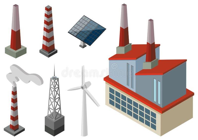 Makttorn och vindturbiner stock illustrationer