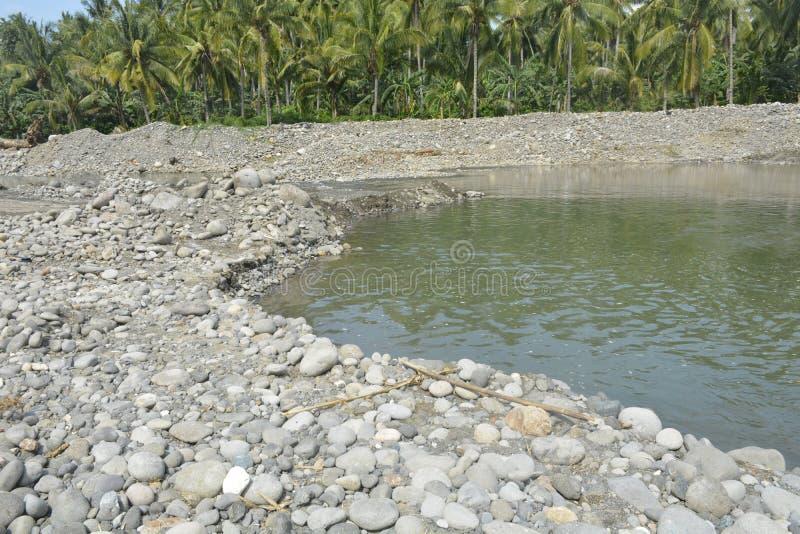 Mal河, Matanao,南达沃省,菲律宾河床  免版税库存照片