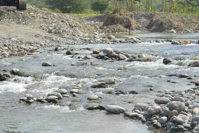 Mal河, Matanao,南达沃省,菲律宾河床  免版税库存图片