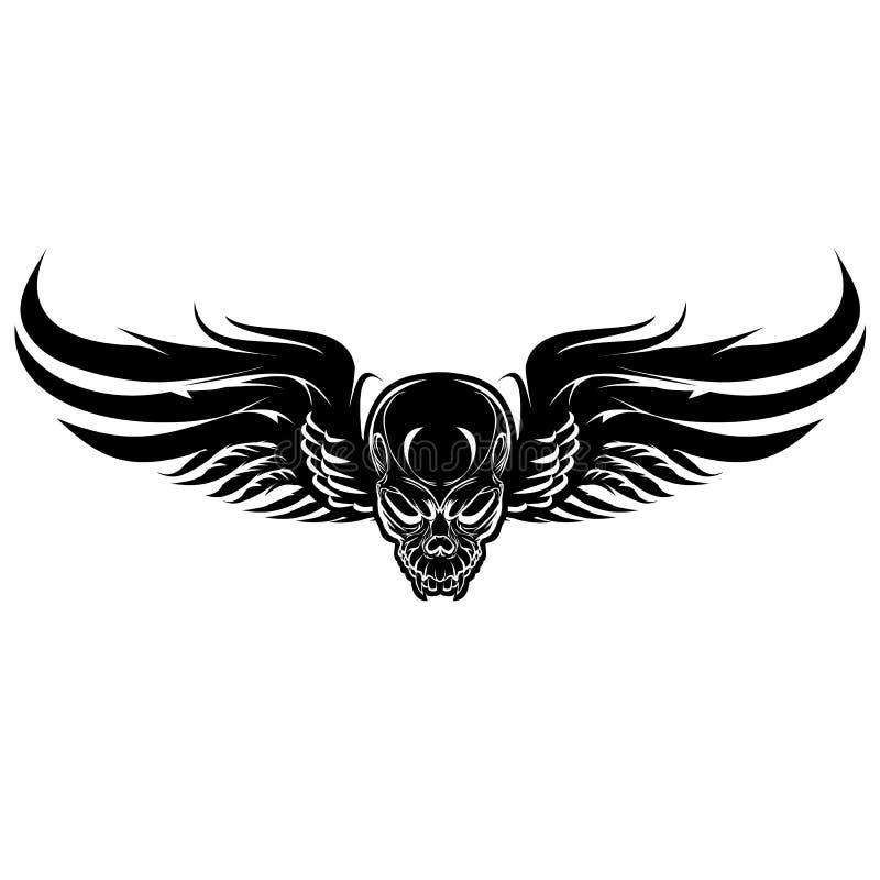 Mal à ailes, crâne noir sur un fond blanc illustration de vecteur