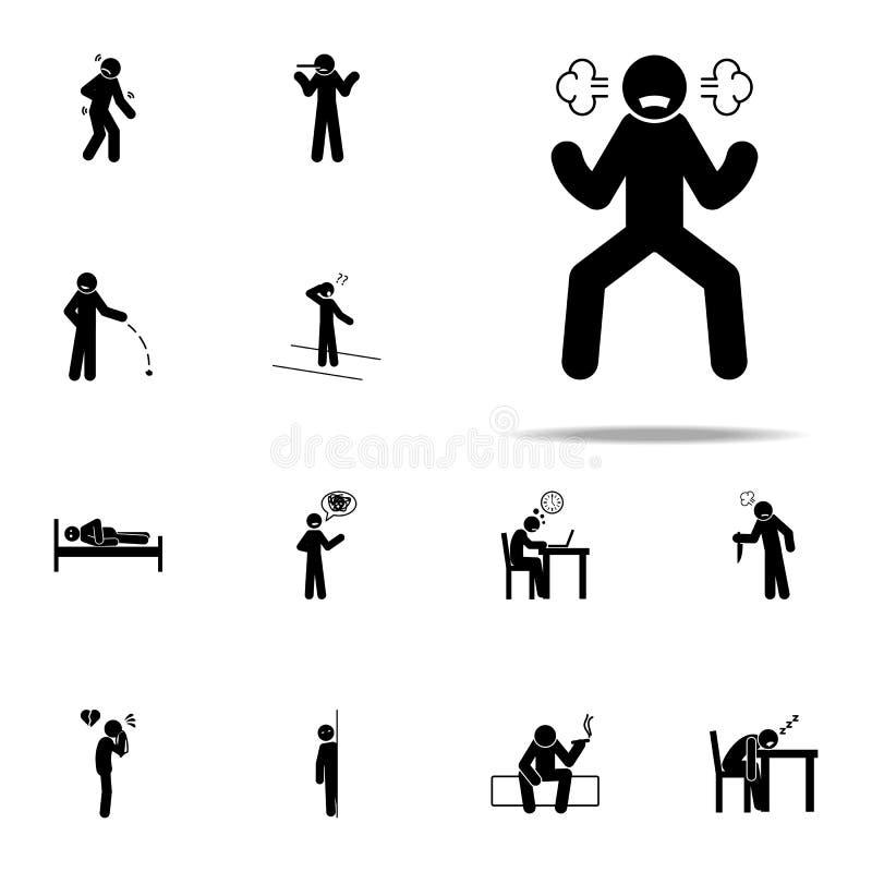 mal, ícone do homem Grupo universal dos ícones negativos do caráter para a Web e o móbil ilustração do vetor