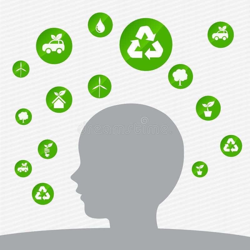 Mal abstrato do vetor do elemento do ícone da cabeça do conceito da ecologia do fundo ilustração do vetor