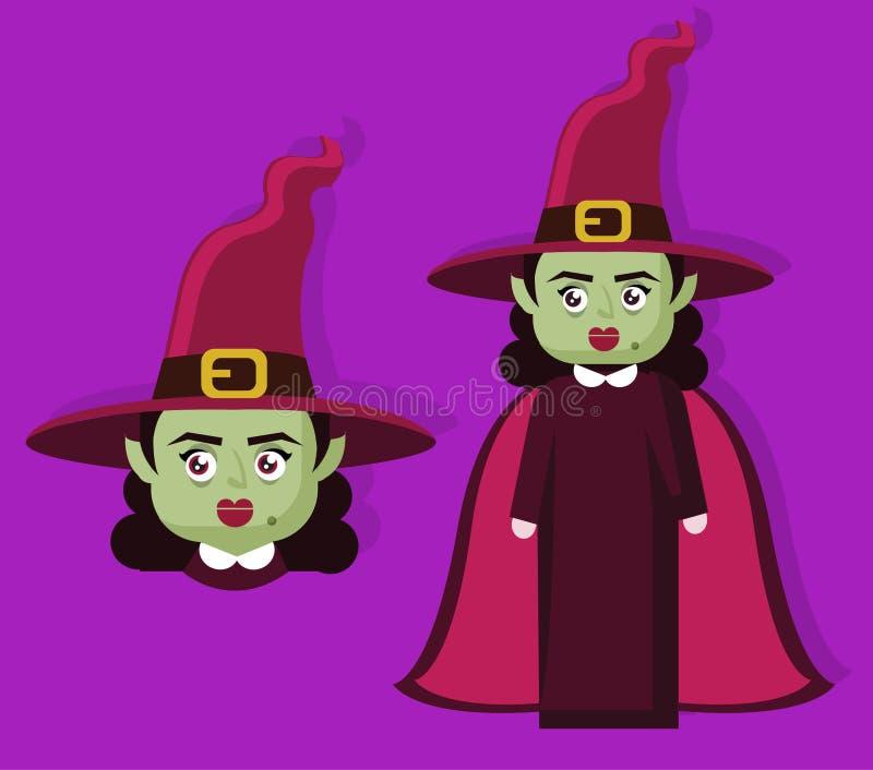 Mal assustador da bruxa do horror para o caráter do Dia das Bruxas das crianças ilustração stock