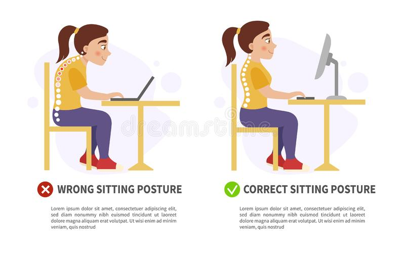 Mal d'affiche de vecteur et position d'assise correcte illustration stock