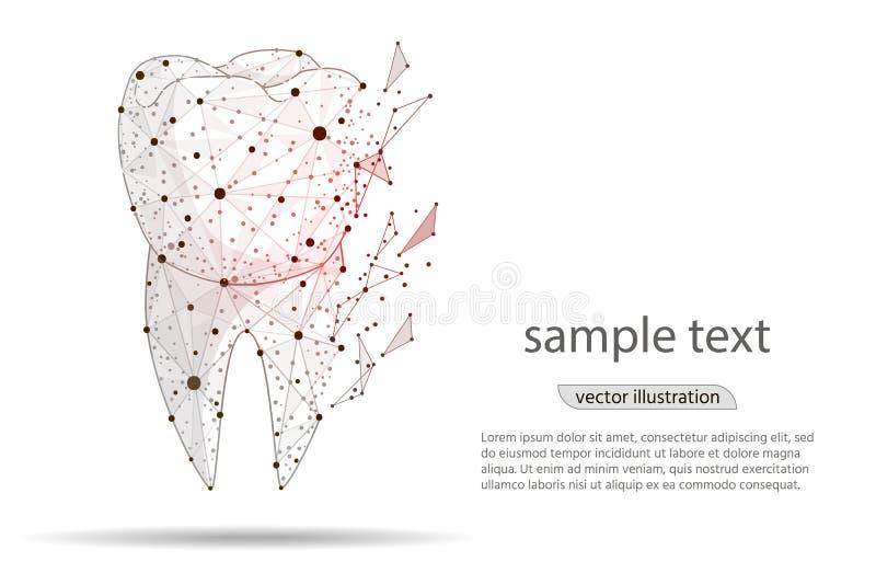 Mal de dents, dent malade de conception de résumé, soins dentaires, d'isolement dans le bas poly wireframe sur le fond blanc, soi illustration libre de droits