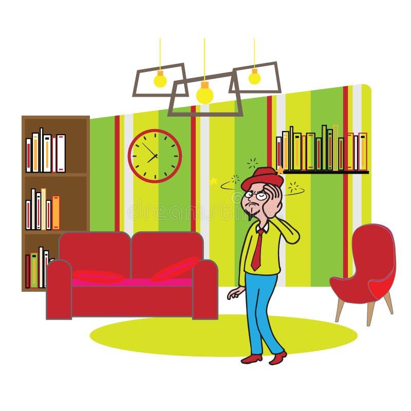Mal de tête d'homme d'espace de travail de bureau de meubles illustration libre de droits
