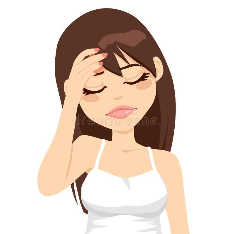 Mal de tête douloureux de femme illustration stock