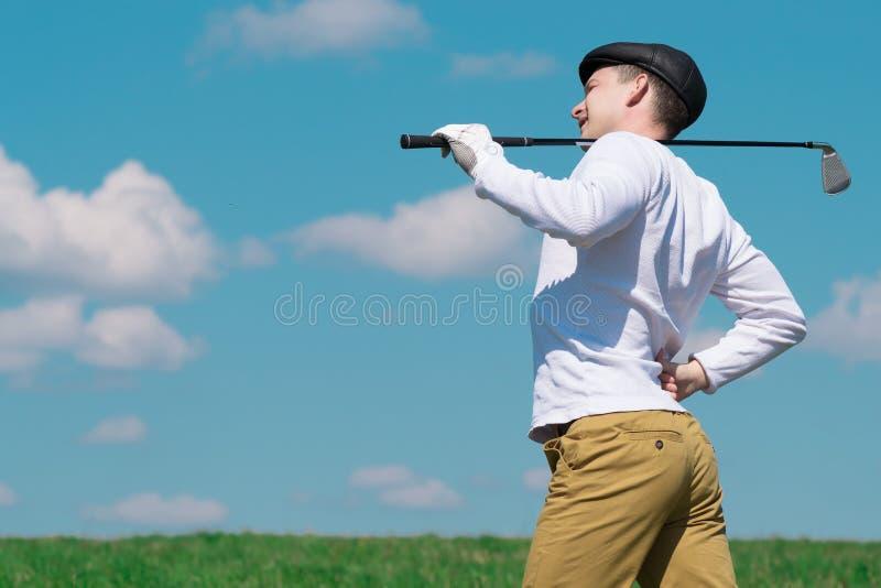 Mal di schiena del giocatore fotografie stock libere da diritti