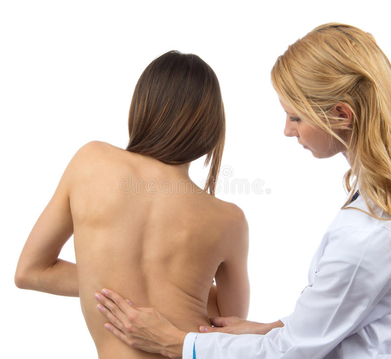 Mal di schiena paziente di deformità di scoliosi della spina dorsale di ricerca di medico fotografia stock