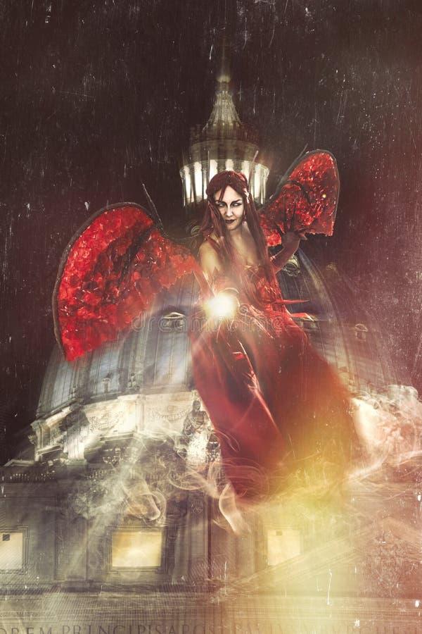 Mal no Vaticano Anjos e demônios Noite e escuridão ilustração royalty free