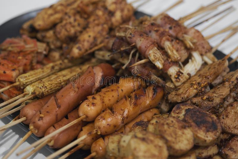 Mala, Barbecue pork Toast grill sauce with Sichuan pepper, Thai Street food.  stock photo