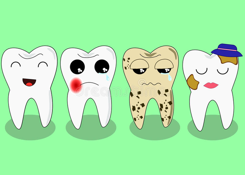 Mala compañía de los dientes Concepto enfermo y malsano problemático de los dientes Caracteres del monstruo en la ciudad Ilustrac ilustración del vector