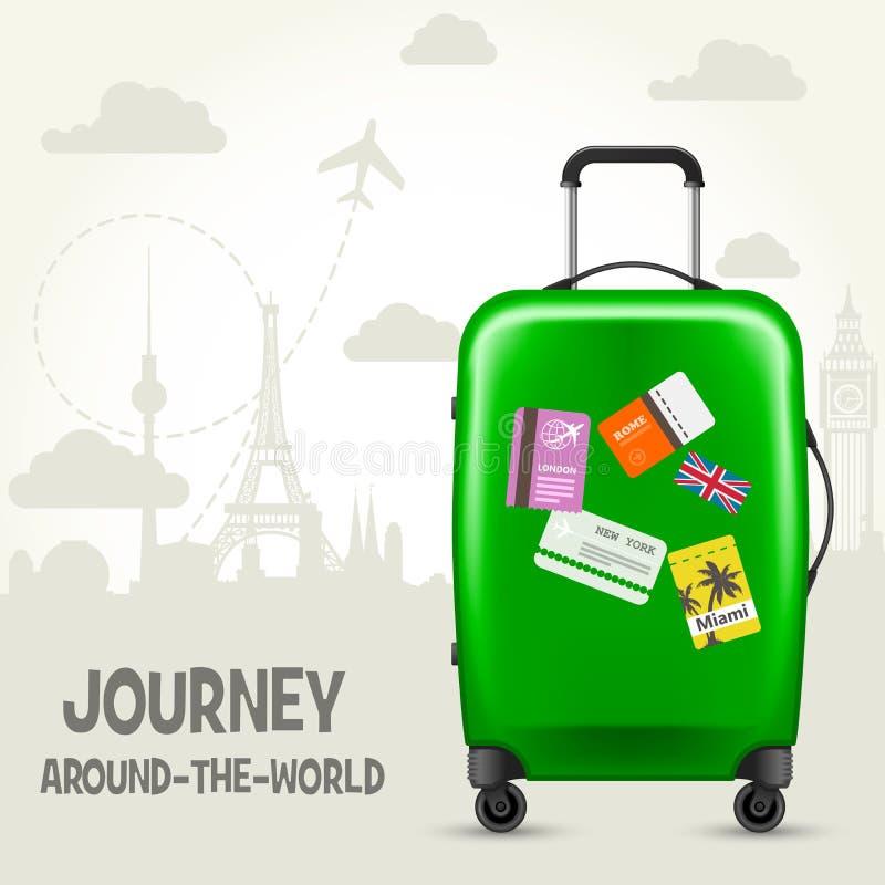 Mala de viagem com etiquetas do curso e os marcos europeus - turismo ilustração royalty free