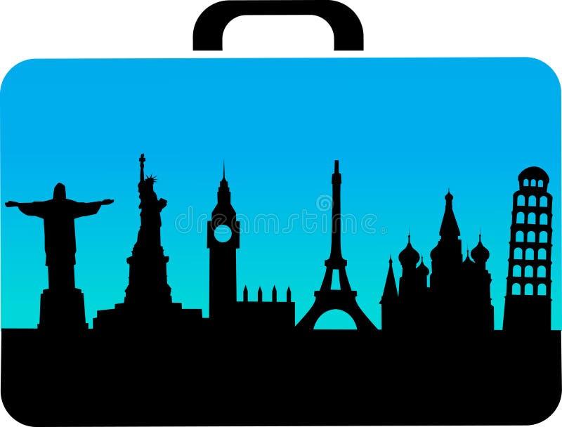Mala de viagem do curso com ícones das cidades ilustração do vetor