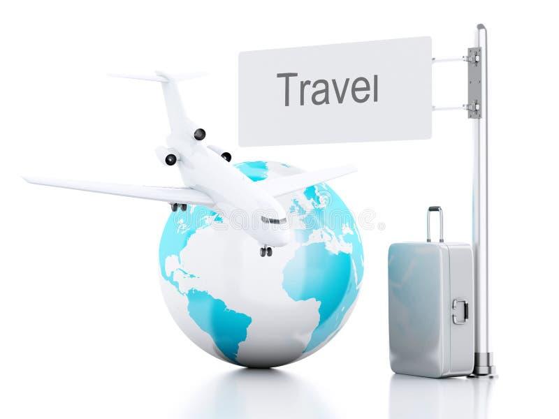 mala de viagem do curso 3d, avião e globo do mundo conceito do curso ilustração stock