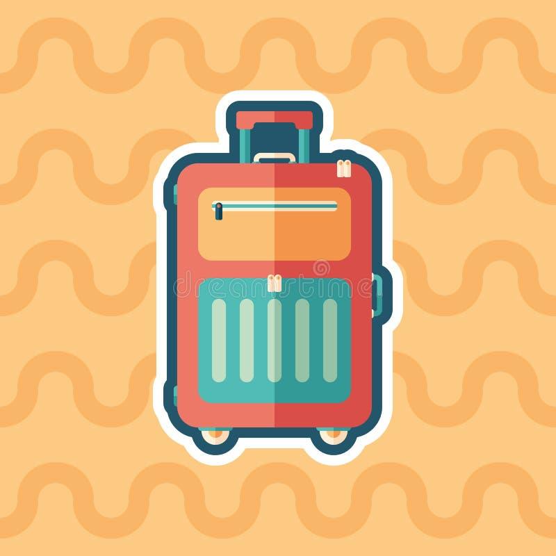 Mala de viagem do curso no ícone liso da etiqueta das rodas com fundo da cor ilustração stock