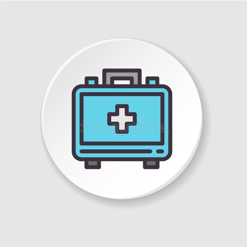 Mala de viagem médica do ícone liso do vetor O kit de primeiros socorros do conceito, chama um doutor ilustração do vetor