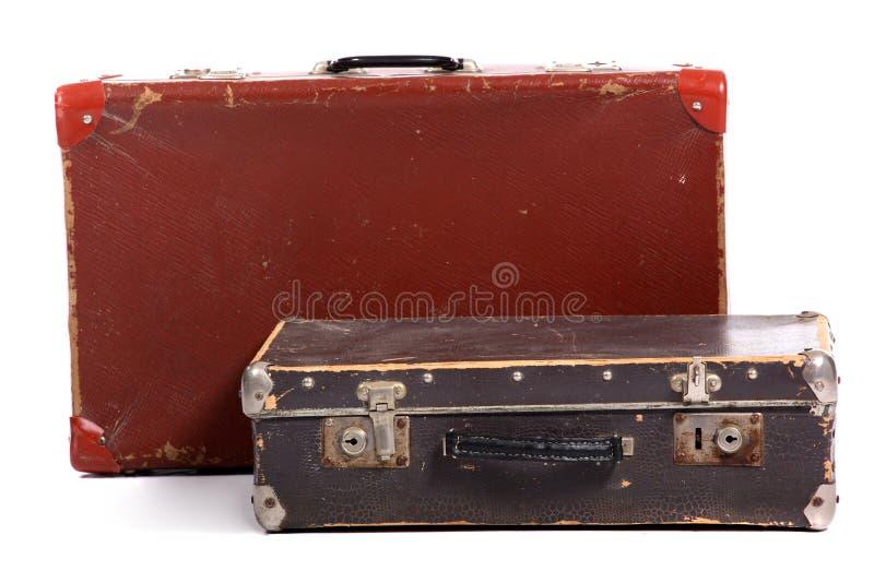 Mala de viagem marrom velha fotografia de stock