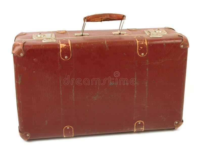 Mala de viagem marrom velha foto de stock royalty free