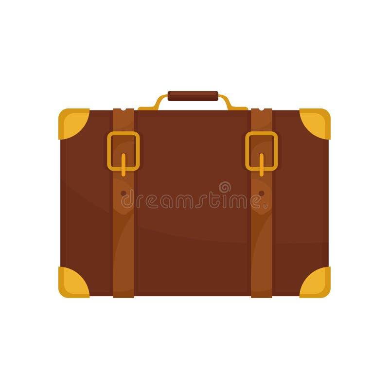 Mala de viagem marrom velha do viajante Saco de couro do vintage com punho pequeno, correias e cantos dourados Projeto liso do ve ilustração do vetor