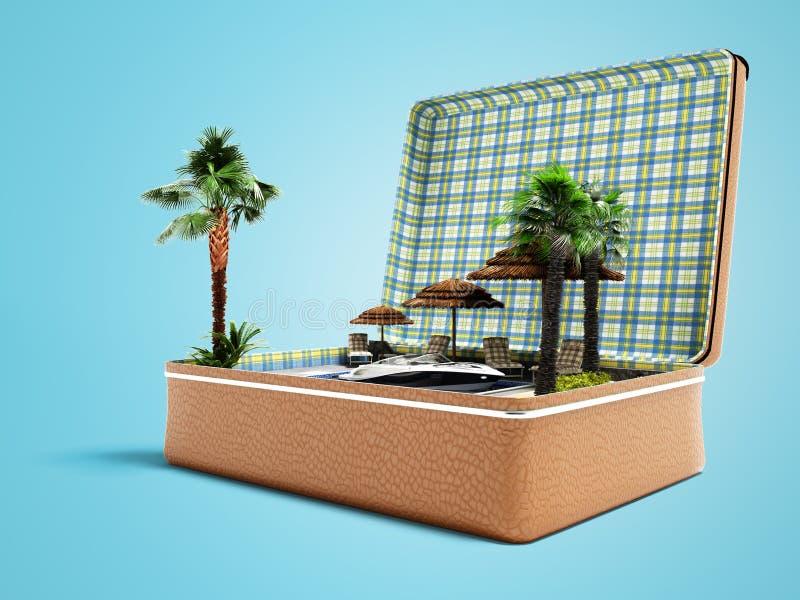 Mala de viagem moderna do curso do conceito com férias da praia no verão 3d para render no fundo azul com sombra ilustração royalty free