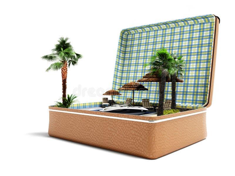 Mala de viagem moderna do curso do conceito com férias da praia no verão 3d para render no fundo branco com sombra ilustração royalty free