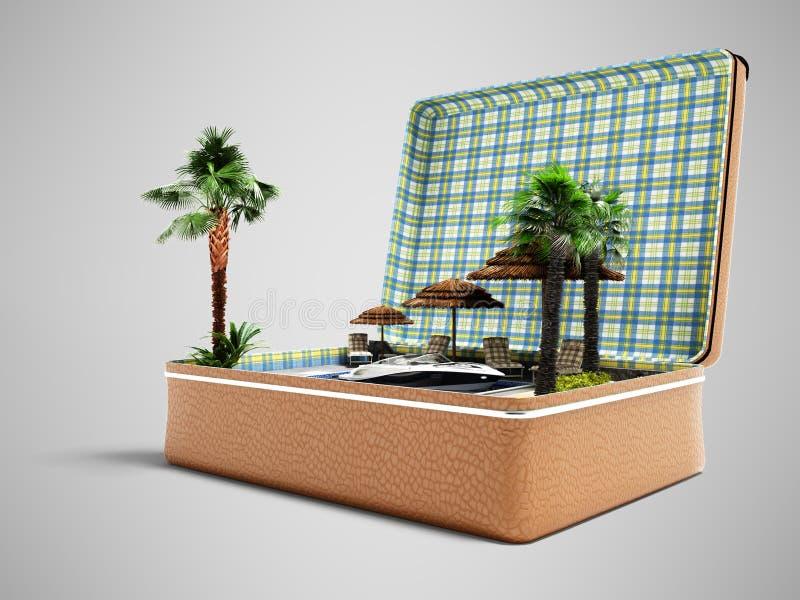 Mala de viagem moderna do curso do conceito com férias da praia no verão 3d para render no fundo cinzento com sombra ilustração stock