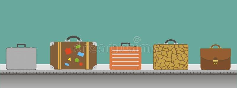 Mala de viagem ou bagagem com a correia transportadora no aeroporto ilustração do vetor