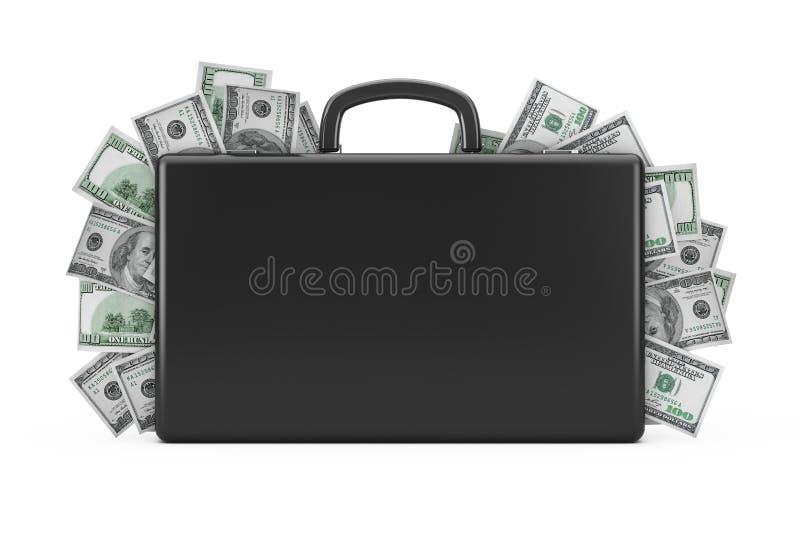 Mala de viagem preta completamente de cem dólares rendição 3d ilustração royalty free