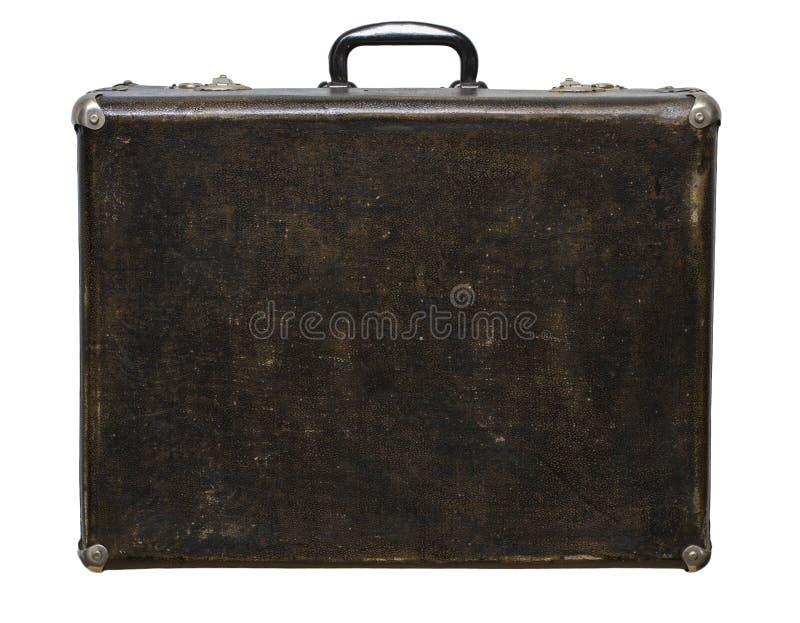 Mala de viagem riscada isolada de Brown do vintage em um fundo branco fotos de stock royalty free