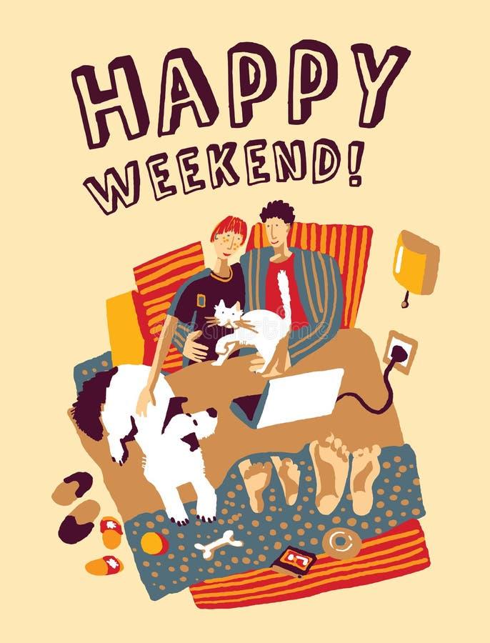 Mala familia y animales domésticos del hogar feliz del fin de semana ilustración del vector