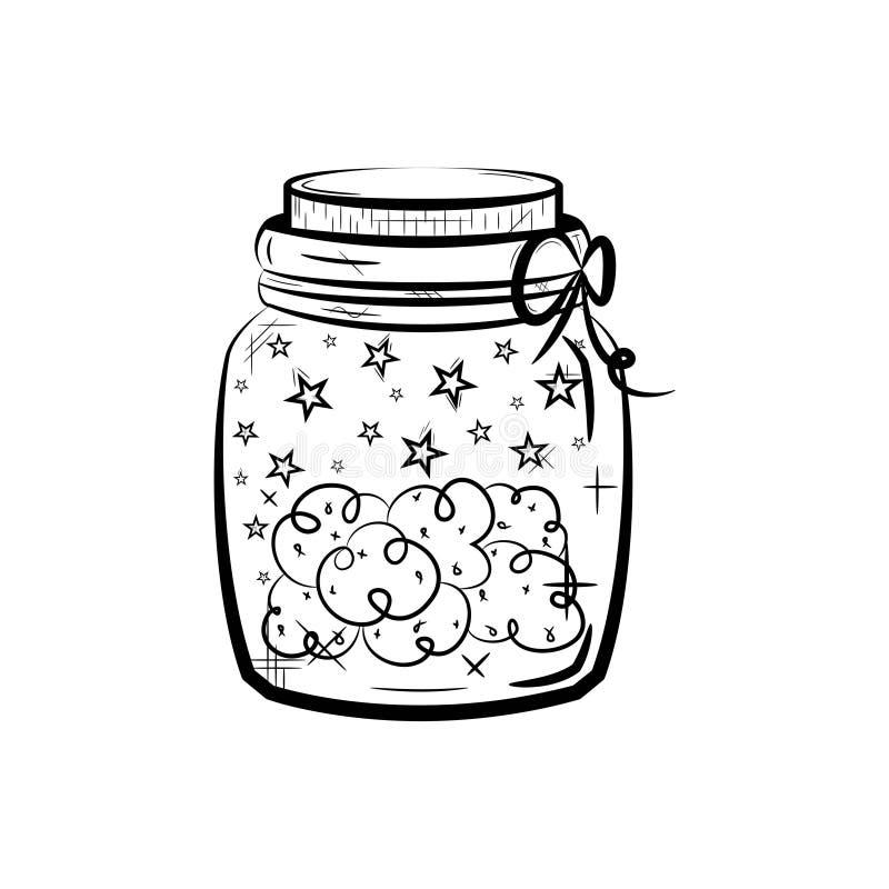Mala hierba médica del cáñamo de la marijuana del cáñamo en tarro icono blanco y negro libre illustration