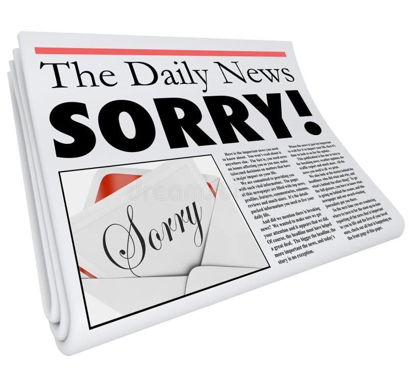 Mala información de la palabra de periódico del título del mal triste de la disculpa ilustración del vector