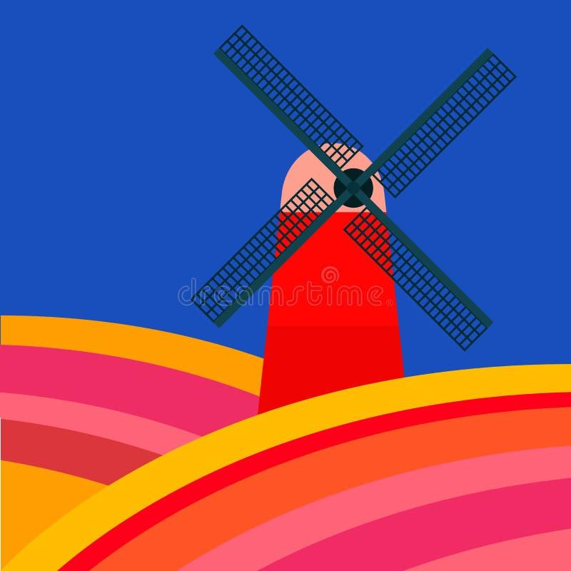 Mala med tulipan fält vektor illustrationer