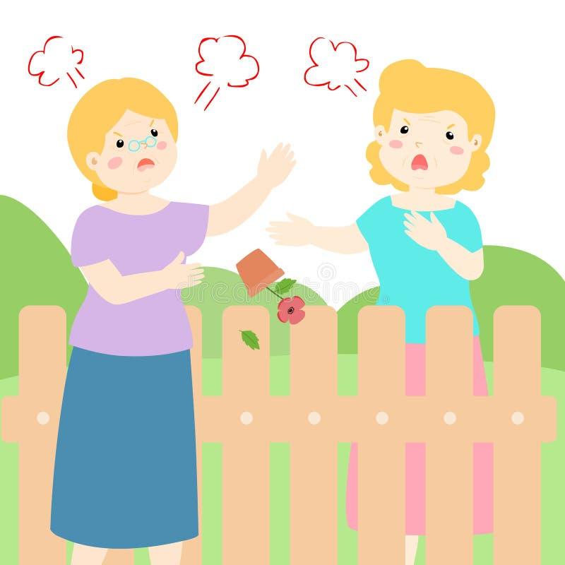 Mala relación del vecino mayor stock de ilustración