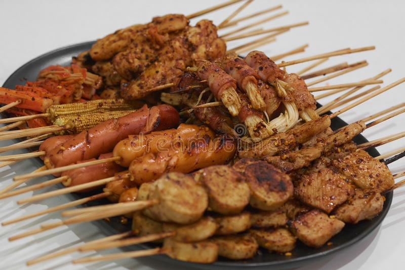 Mala, salsa della griglia del pane tostato della carne di maiale del barbecue con il pepe di Sichuan, alimento tailandese della v immagini stock libere da diritti