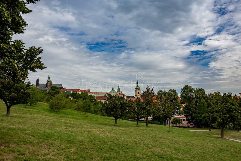 Mala Strana in Prague as seen from Petrin park stock photos