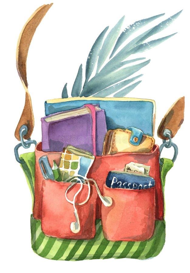 A mala a tiracolo colorida completamente de coisas diferentes do curso ilustração do vetor