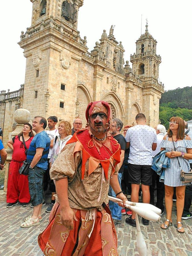 Malabar-Zeigung in der galizischen mittelalterlichen Partei lizenzfreie stockbilder