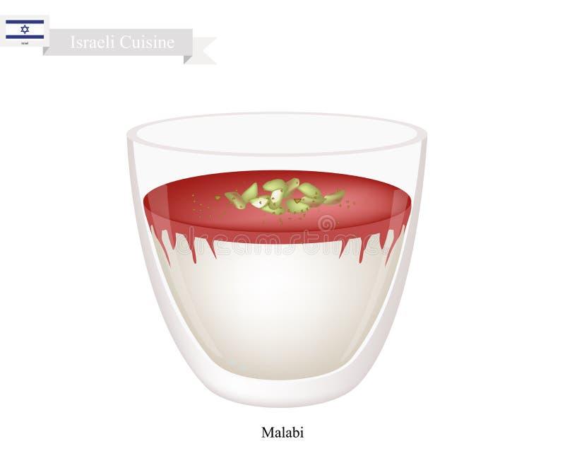 Malabi ou Israélien Rose Scented Milk Pudding illustration de vecteur