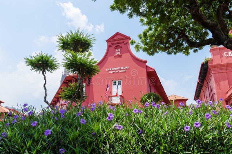 Malaca, Malasia - abril 21,2019: Vista esc?nica de la iglesia Malaca y Melaka Art Gallery de Cristo Se ha enumerado como UNESCO fotografía de archivo libre de regalías