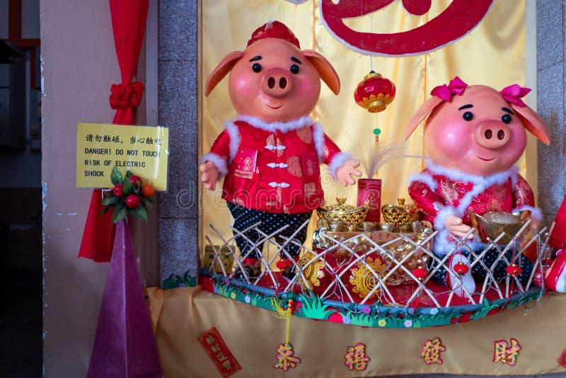 Malaca, Malasia - 1 de marzo de 2019: Las estatuas del cerdo con el peligro señal adentro el templo imágenes de archivo libres de regalías
