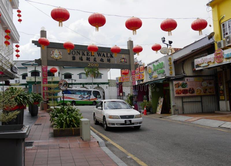 Malacca, Μαλαισία--Το Φεβρουάριο του 2018: Πύλη εισόδων οδών Jonker με τις κόκκινες διακοσμήσεις φαναριών για να γιορτάσει το κιν στοκ φωτογραφίες με δικαίωμα ελεύθερης χρήσης