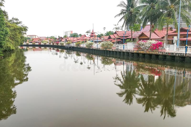 Malacca, Malaysia, April 8, 2018: Malacca city is awarded the UN. ESCO World Heritage City status with rich history. Featured here is Melaka River adjacent to royalty free stock image
