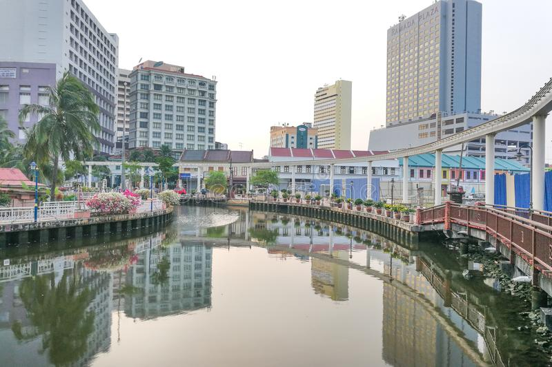 Malacca, Malaysia, April 8, 2018: Malacca city is awarded the UN. ESCO World Heritage City status with rich history. Featured here is Melaka River adjacent to stock photography
