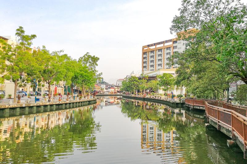Malacca, Malaysia, April 8, 2018: Malacca city is awarded the UN. ESCO World Heritage City status with rich history. Featured here is Melaka River, popular royalty free stock photos
