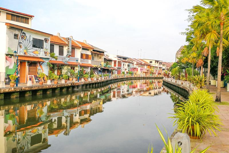 Malacca, Malaysia, April 8, 2018: Malacca city is awarded the UN. ESCO World Heritage City status with rich history. Featured here is Melaka River, popular stock photos