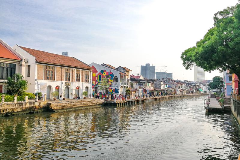 Malacca, Malaysia, April 8, 2018: Malacca city is awarded the UN. ESCO World Heritage City status with rich history. Featured here is Melaka River, popular stock photo