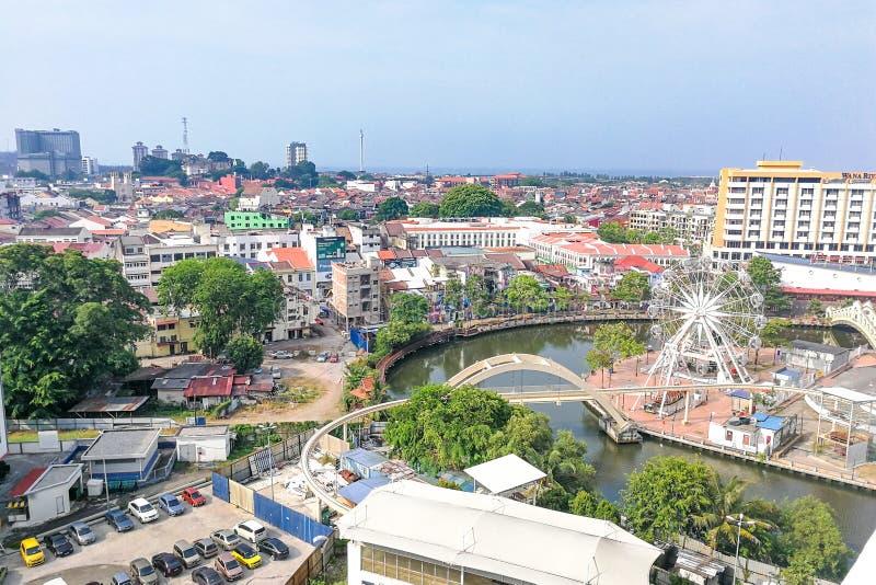 Malacca Malaysia, April 8, 2018: Den Malacca staden tilldelas FN arkivfoton