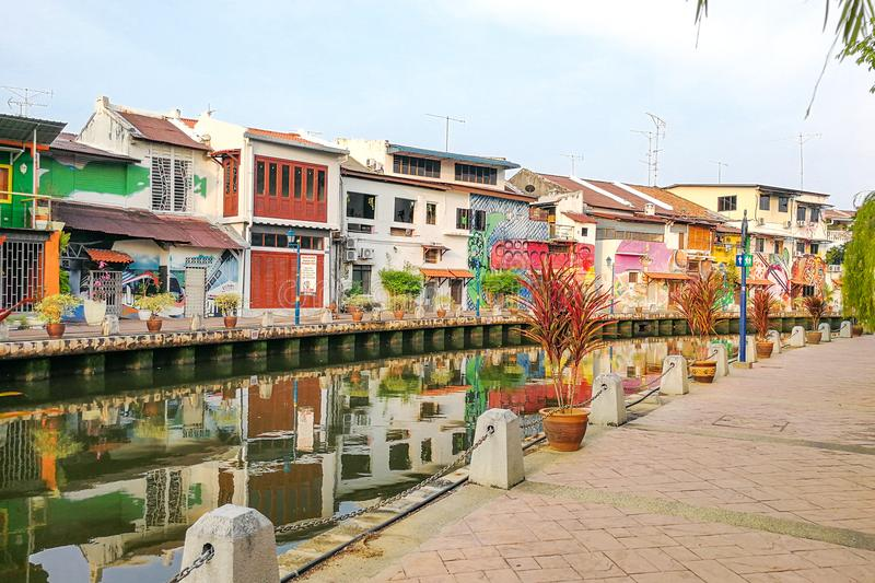 Malacca, Malaysia, April 8, 2018: Malacca city is awarded the UN. ESCO World Heritage City status with rich history. Featured here is Melaka River, popular stock photography